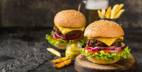 high-angle-burgers-with-fries-sauce-beer-with-copy-space